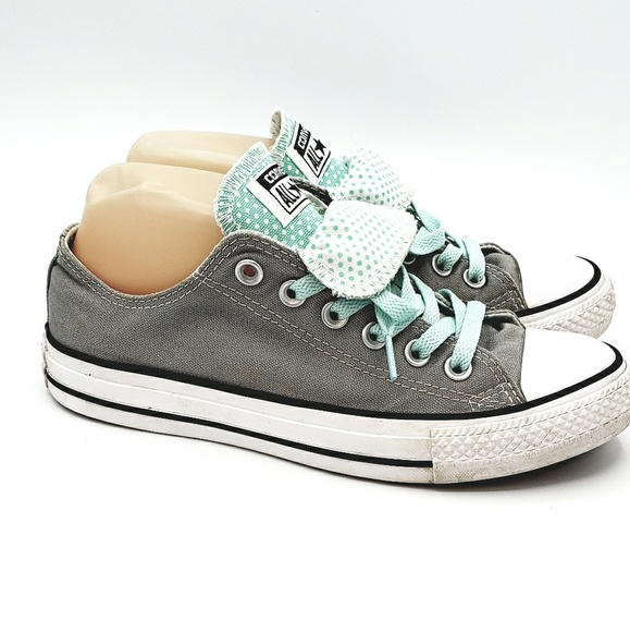 Super Cute Converse double tongue mint polka dots